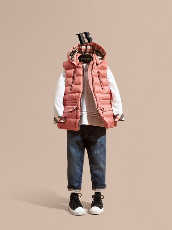Detachable Hood Down-filled Gilet Light Copper Pink