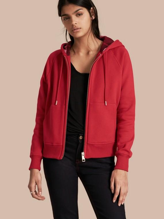 Sweat-shirt en coton mélangé à capuche avec fermeture zippée à l'avant Rouge Parade