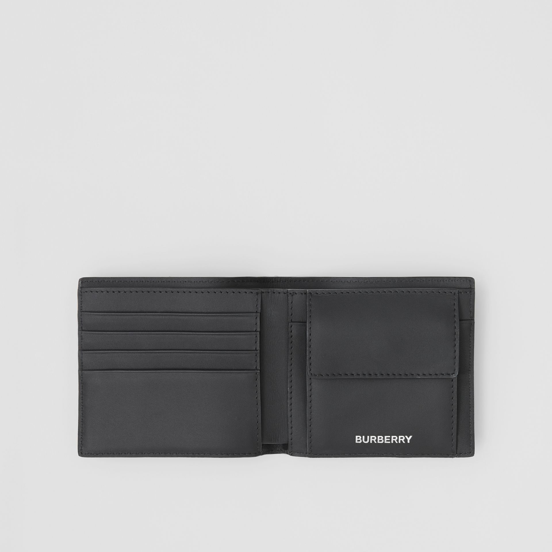 London Check International Bifold Coin Wallet in Dark Charcoal - Men | Burberry - gallery image 2
