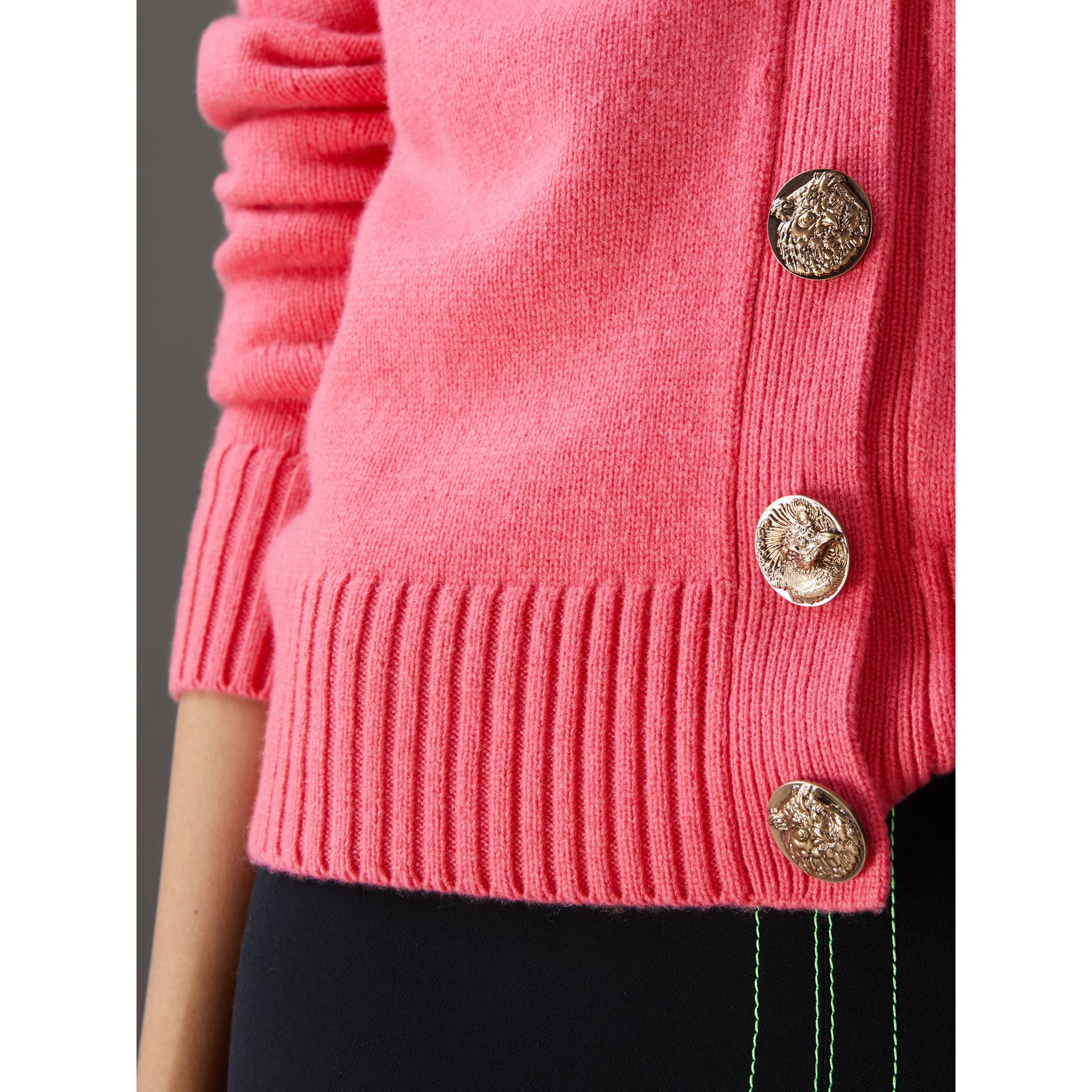 Bird Button Cashmere Cardigan in Rose Pink - Women | Burberry Hong Kong - gallery image 1