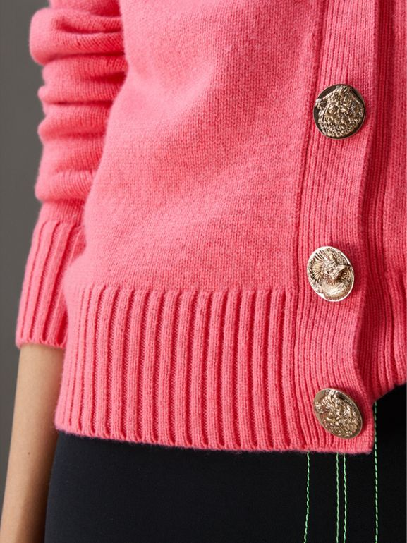 Bird Button Cashmere Cardigan in Rose Pink - Women | Burberry - cell image 1