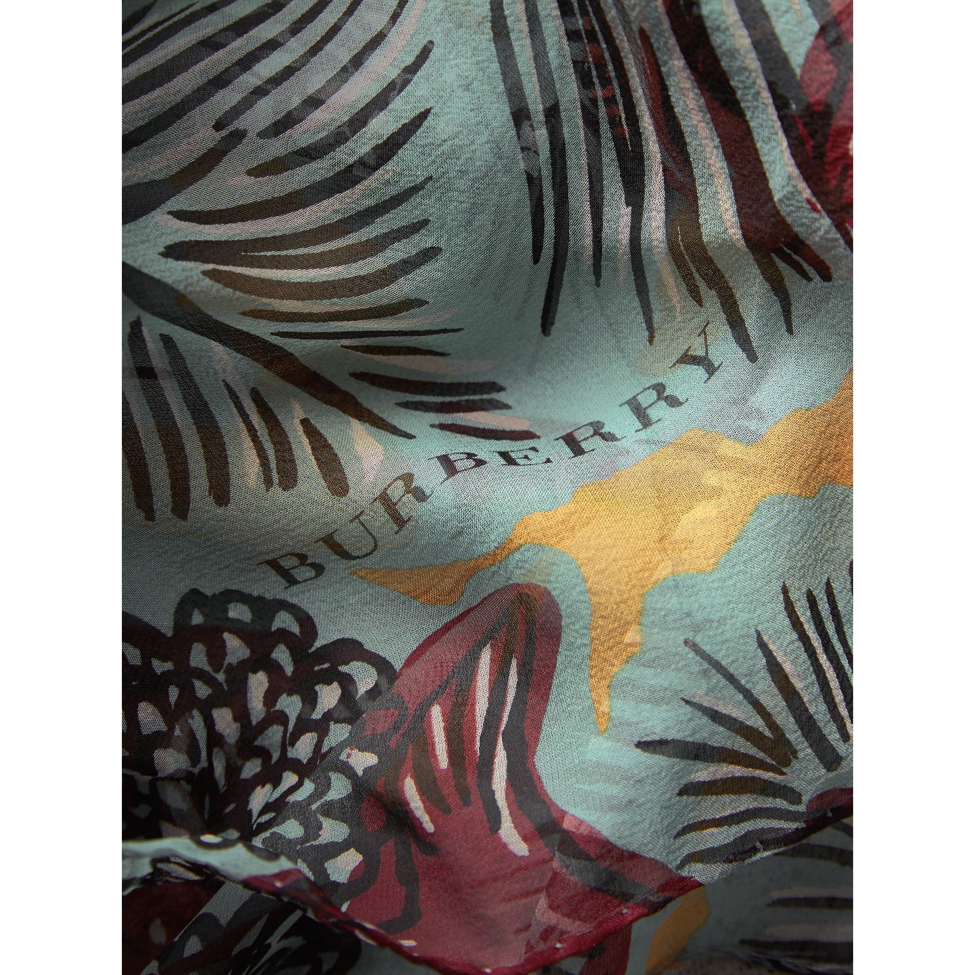 Beasts Print Lightweight Silk Scarf in Pale Celadon - Women | Burberry - gallery image 2