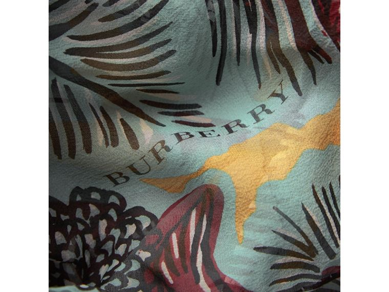 Beasts Print Lightweight Silk Scarf in Pale Celadon - Women | Burberry - cell image 1