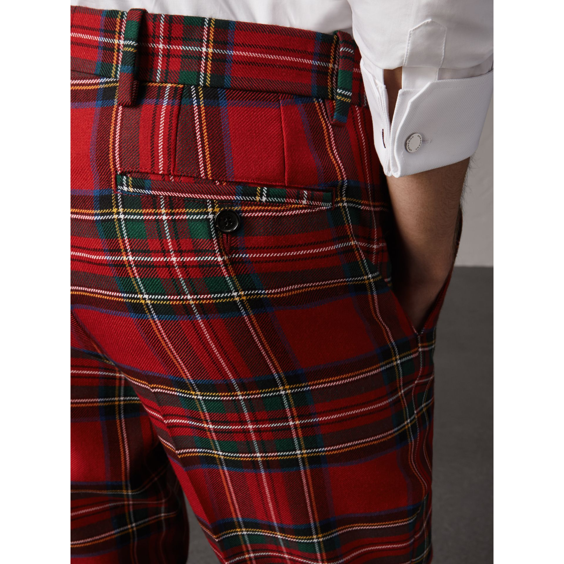 Tartan Wool Tailored Trousers in Bright Red | Burberry - gallery image 1