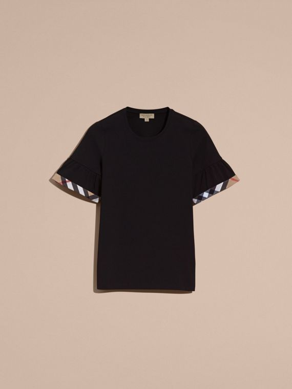 Stretch Cotton T-shirt with Check Trim Ruffles Black - cell image 3
