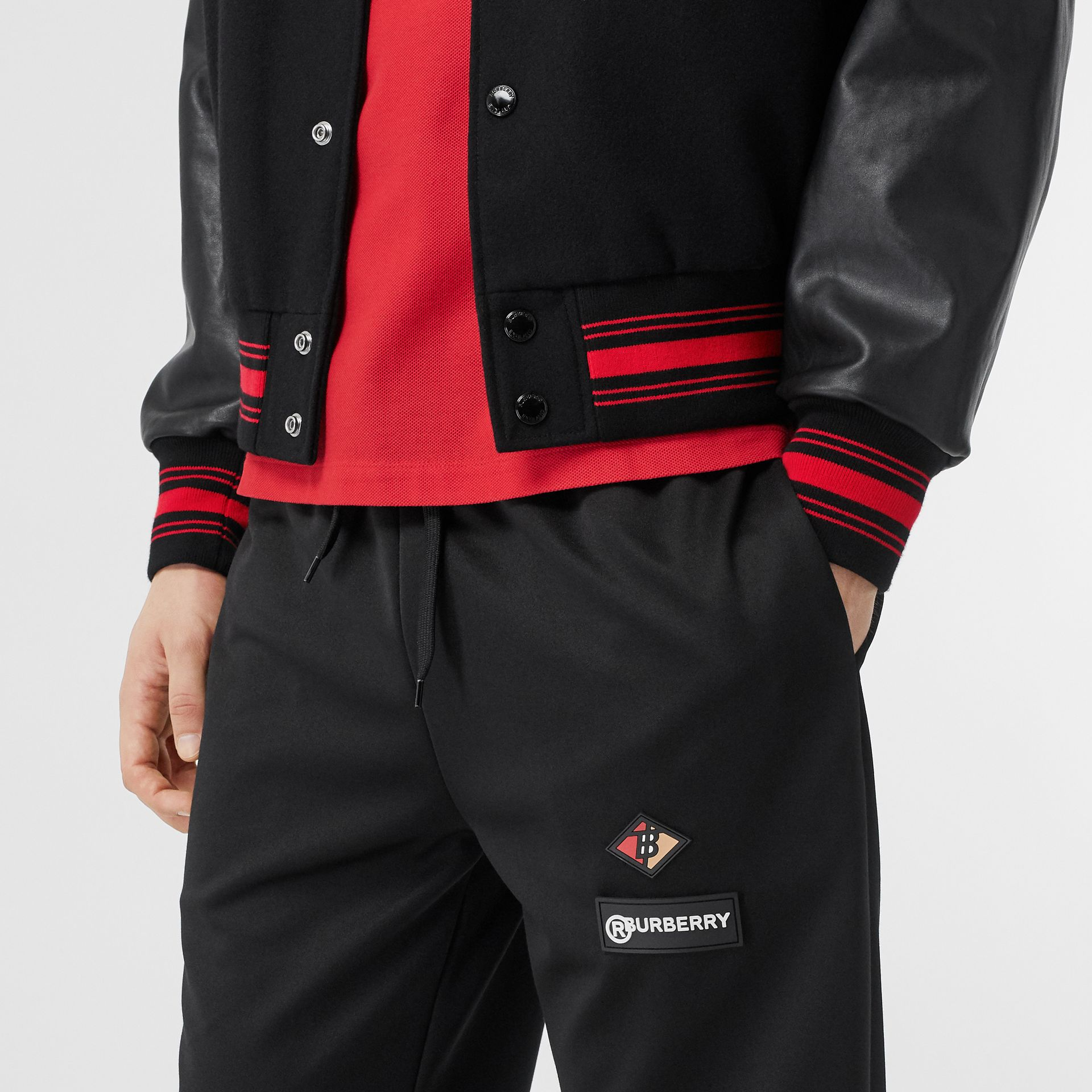 Contrast Sleeve Logo Graphic Wool Bomber Jacket in Black - Men | Burberry Australia - gallery image 1