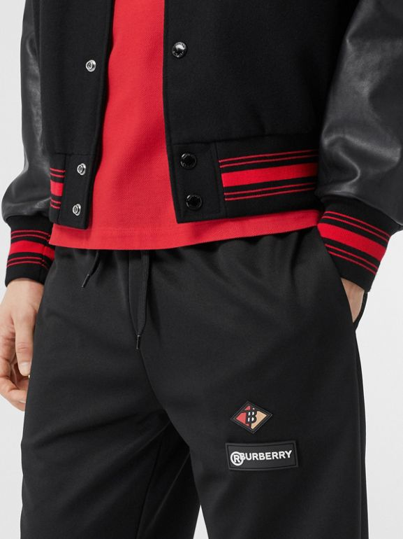 Contrast Sleeve Logo Graphic Wool Bomber Jacket in Black - Men | Burberry Australia - cell image 1