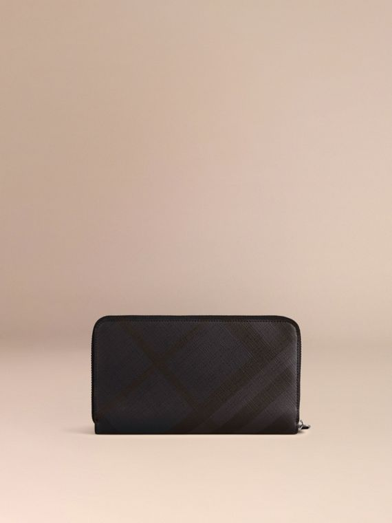 London Check Ziparound Wallet in Navy/black - cell image 2