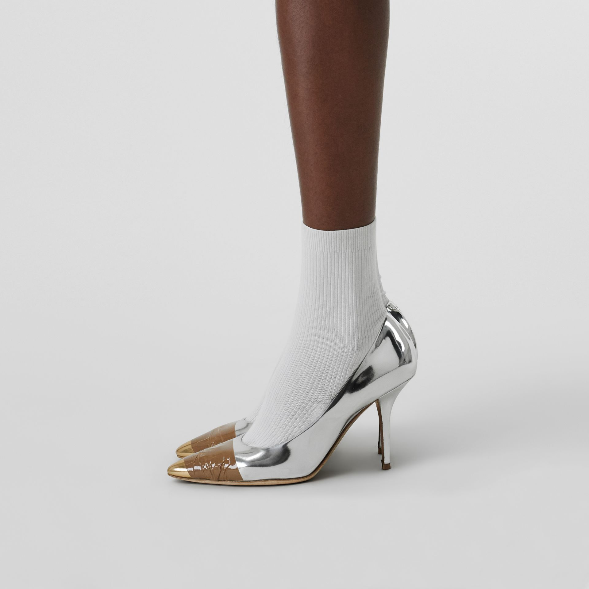 Tape Detail Mirrored Leather Pumps in Silver/gold - Women | Burberry - gallery image 2