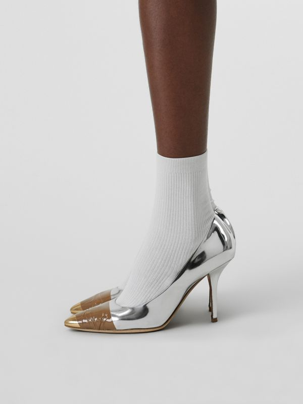 Tape Detail Mirrored Leather Pumps in Silver/gold - Women | Burberry - cell image 2