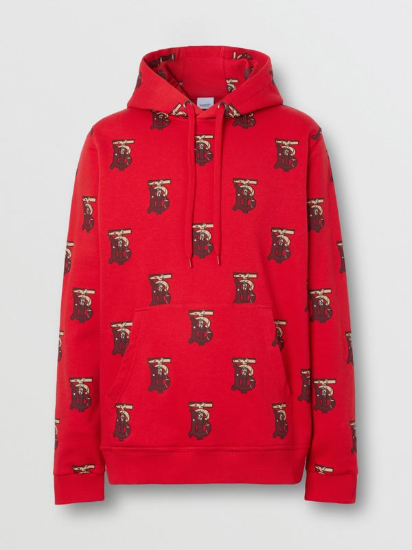 Monogram Motif Cotton Oversized Hoodie in Bright Red - Men | Burberry - cell image 3