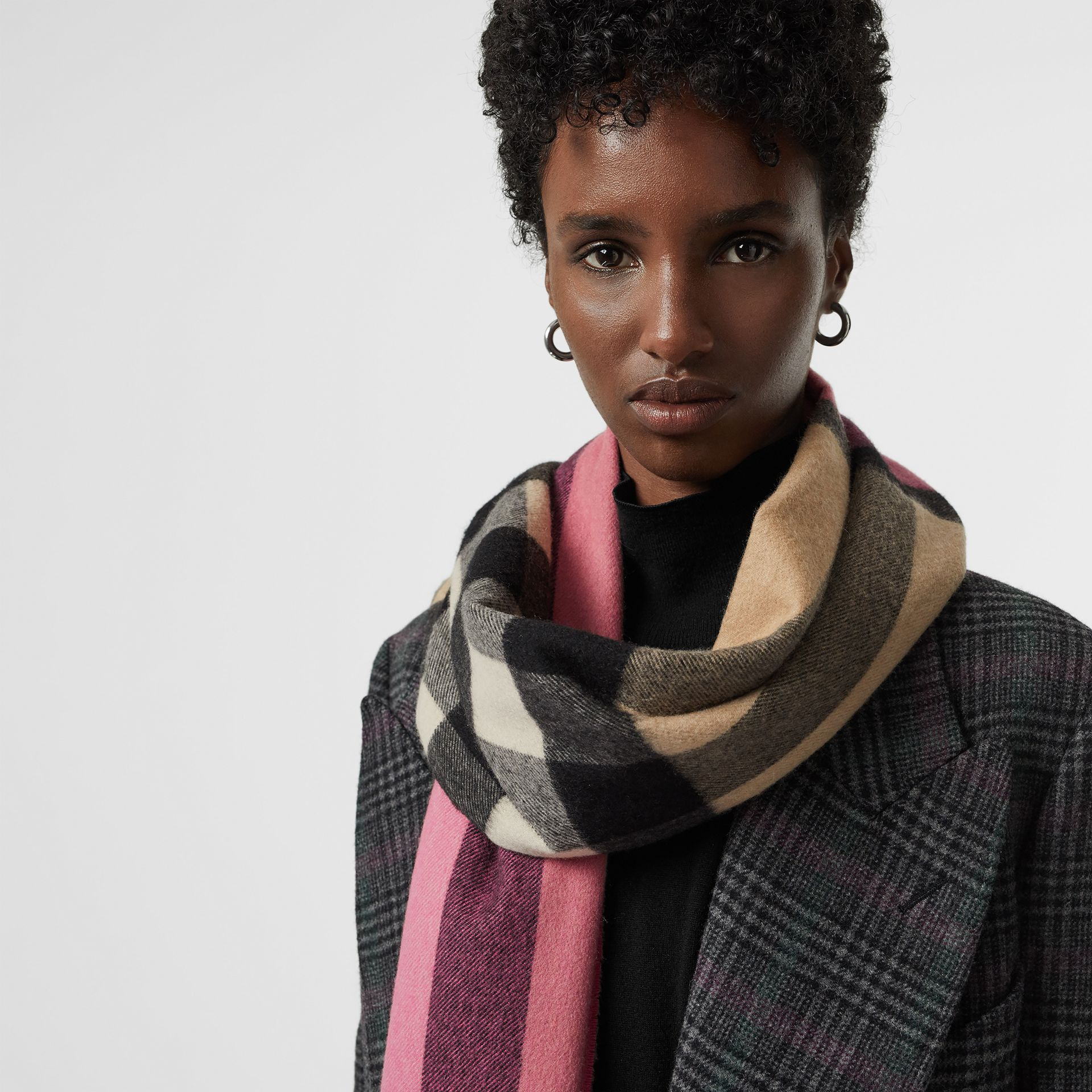 Colour Block Check Cashmere Scarf in Rose Pink | Burberry - gallery image 5