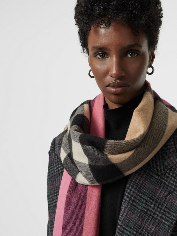 Colour Block Check Cashmere Scarf in Rose Pink