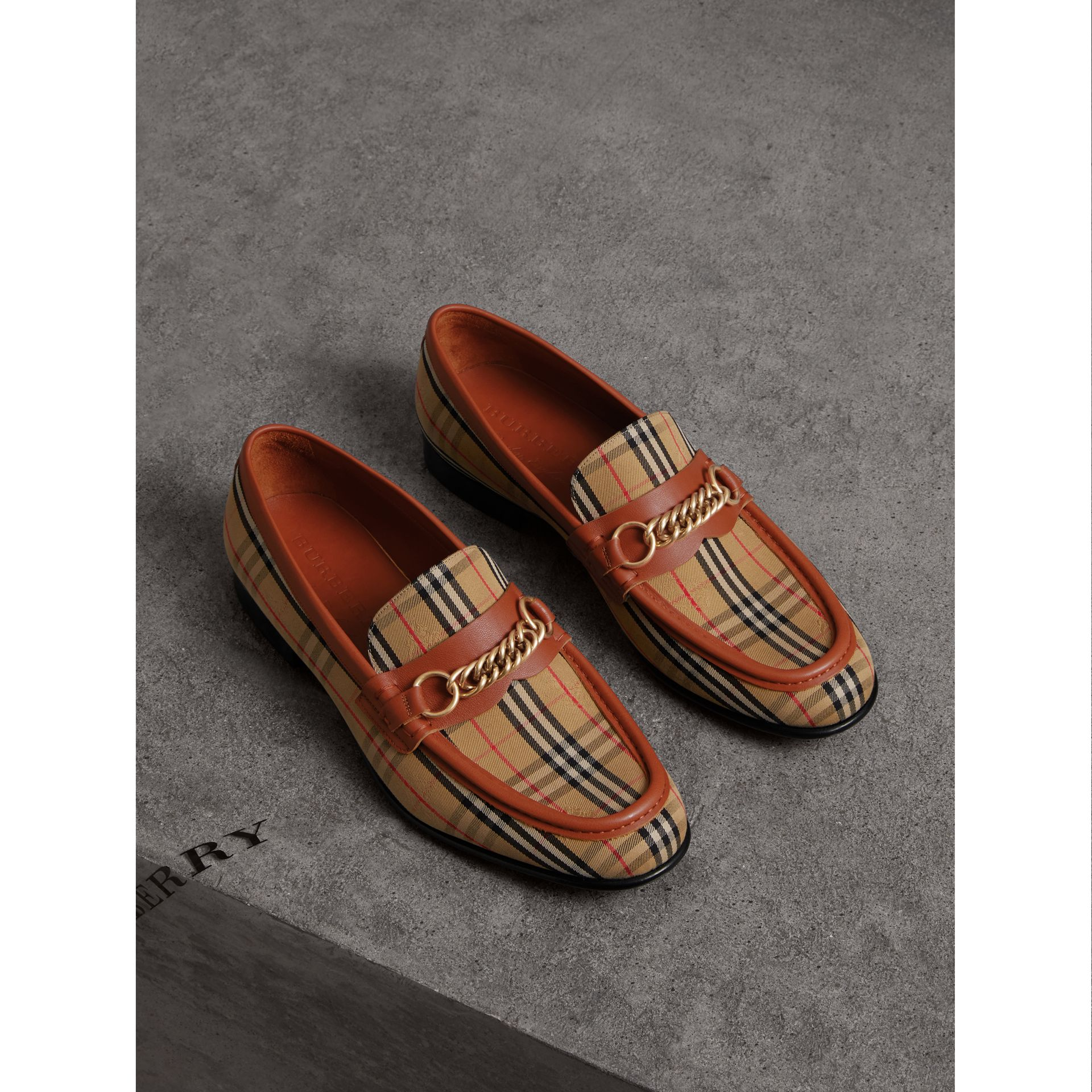 The 1983 Check Link Loafer in Brick Red | Burberry - gallery image 4