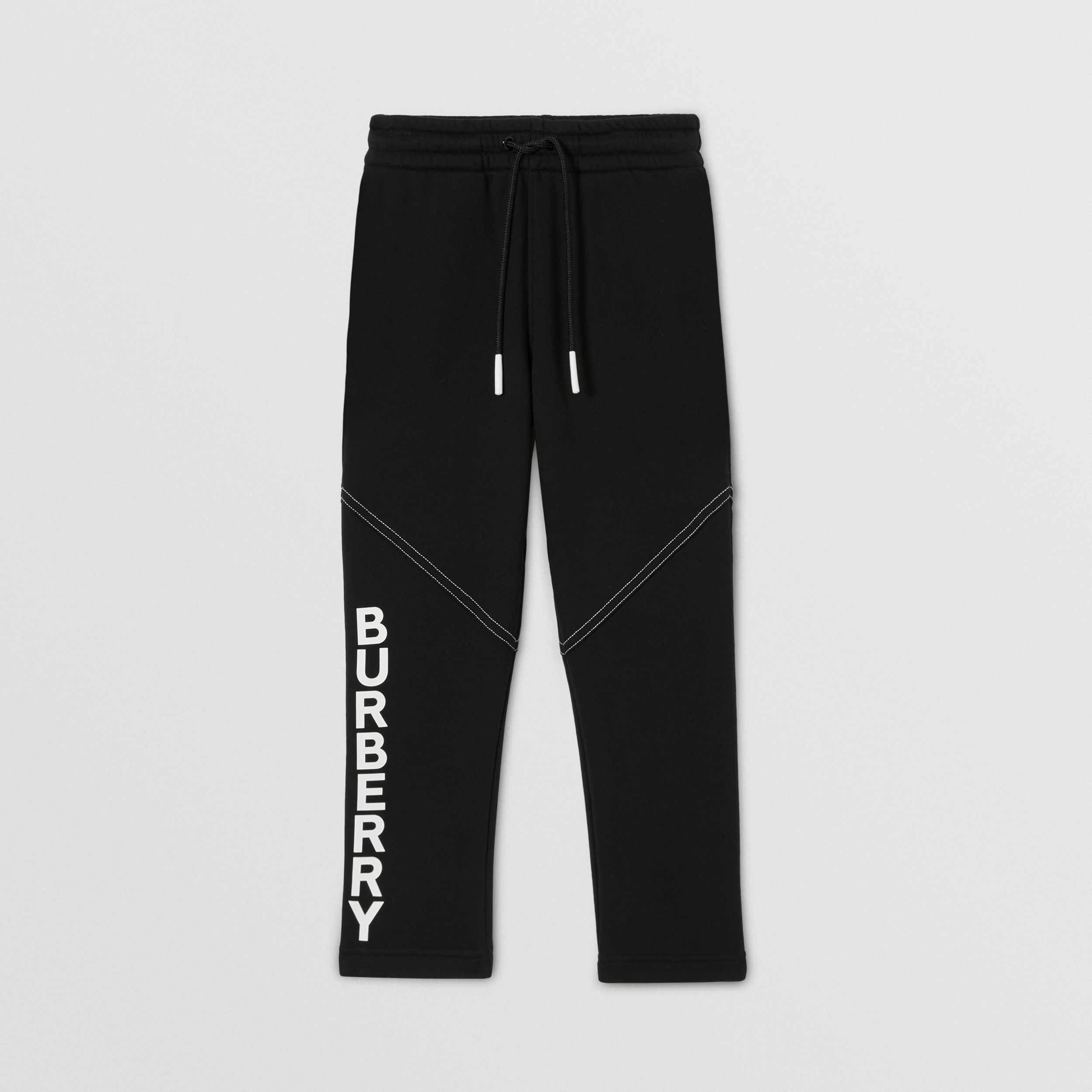 Logo Print Cotton Jogging Pants in Black | Burberry - 1