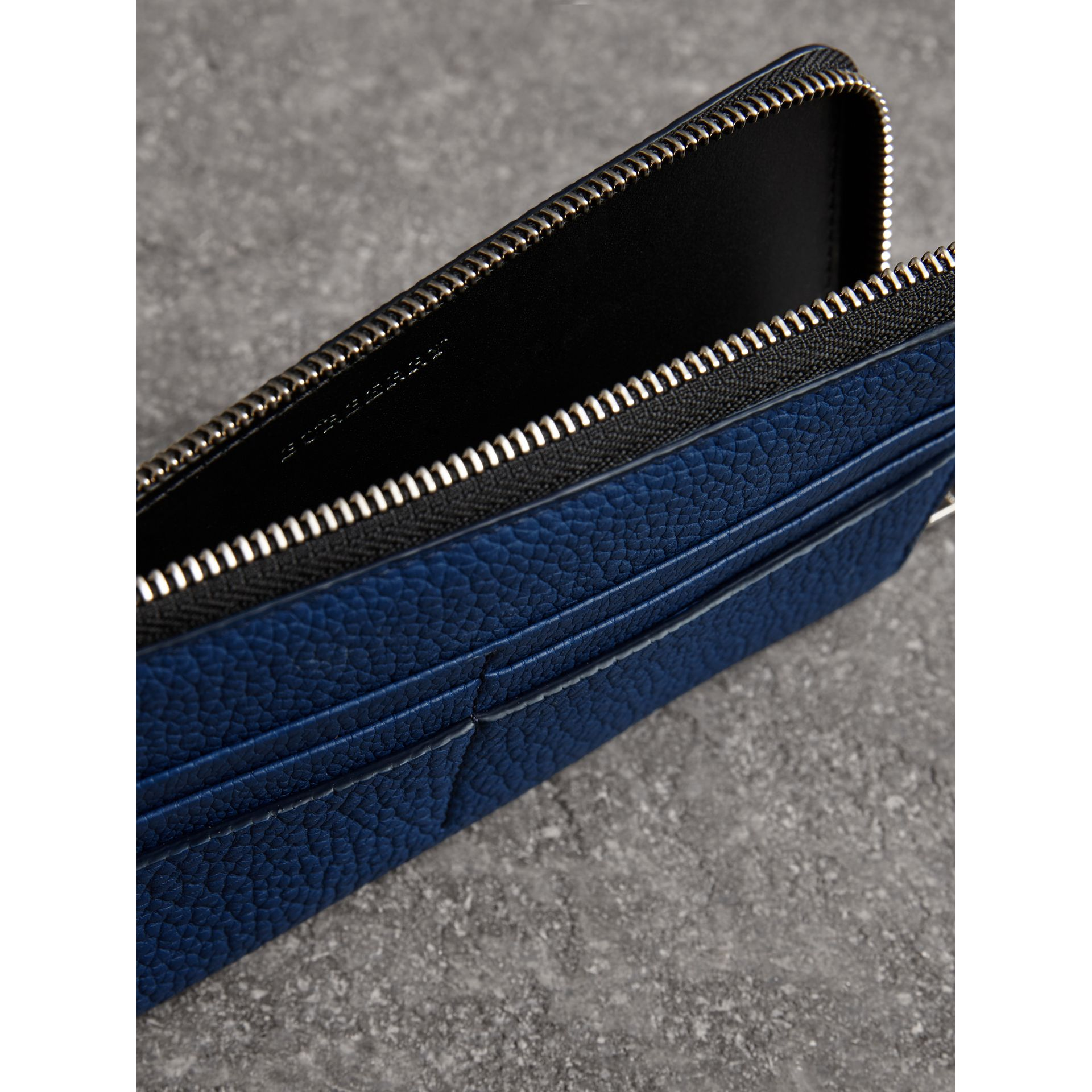 Grainy Leather Travel Wallet in Bright Ultramarine - Men | Burberry Australia - gallery image 3