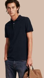 Contrast Trim Cotton Piqué Polo Shirt
