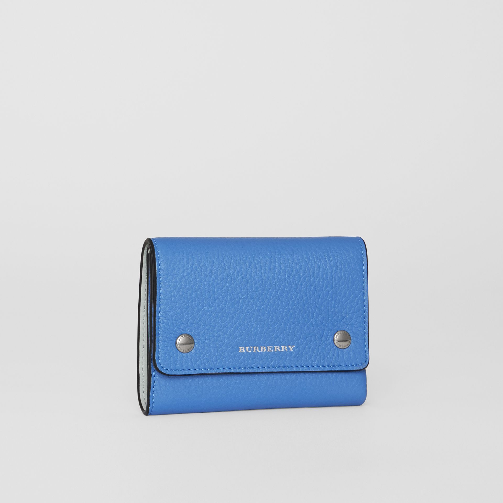 Small Leather Folding Wallet in Hydrangea Blue - Women | Burberry - gallery image 3