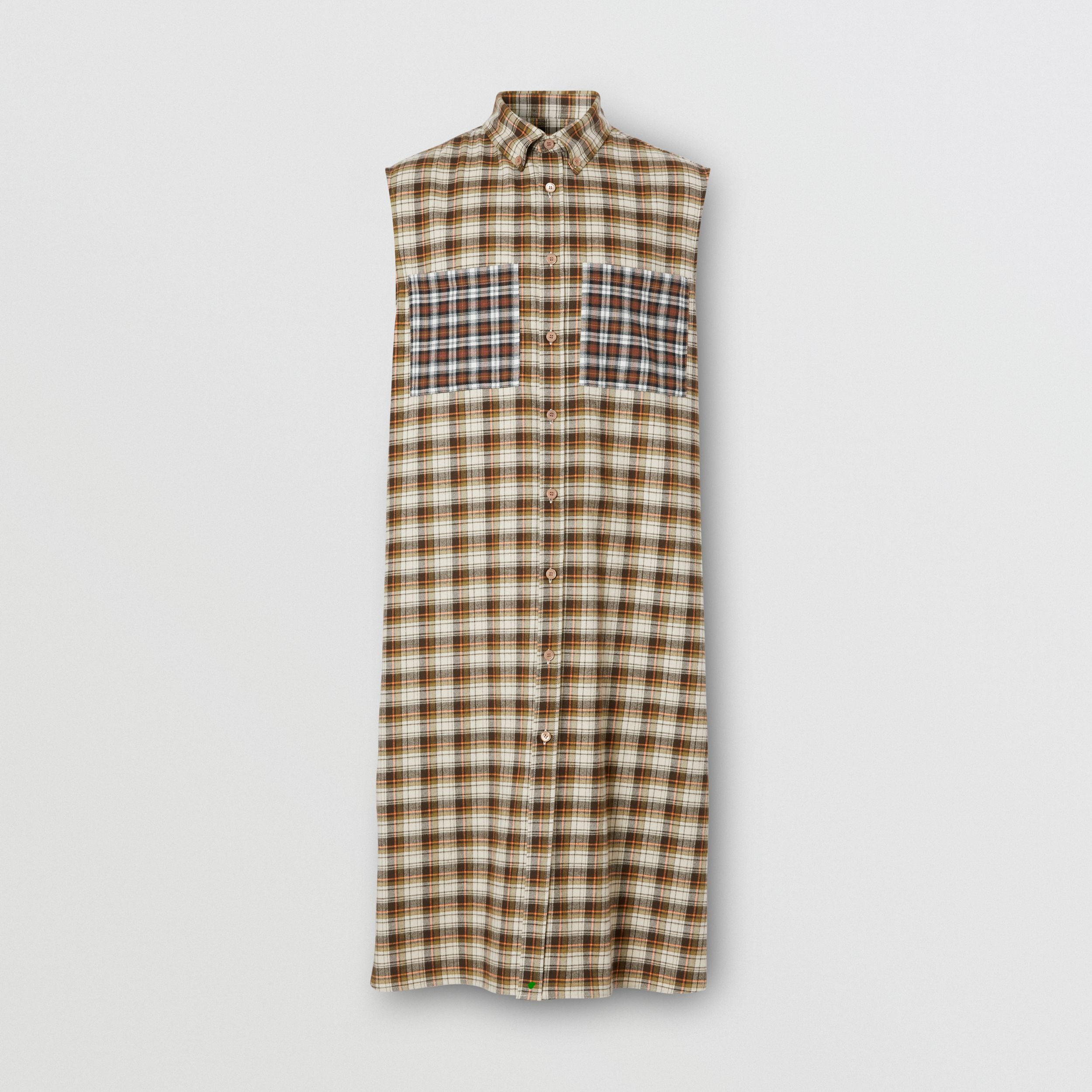 Sleeveless Check Cotton Flannel Tunic Shirt in Dark Olive | Burberry - 4