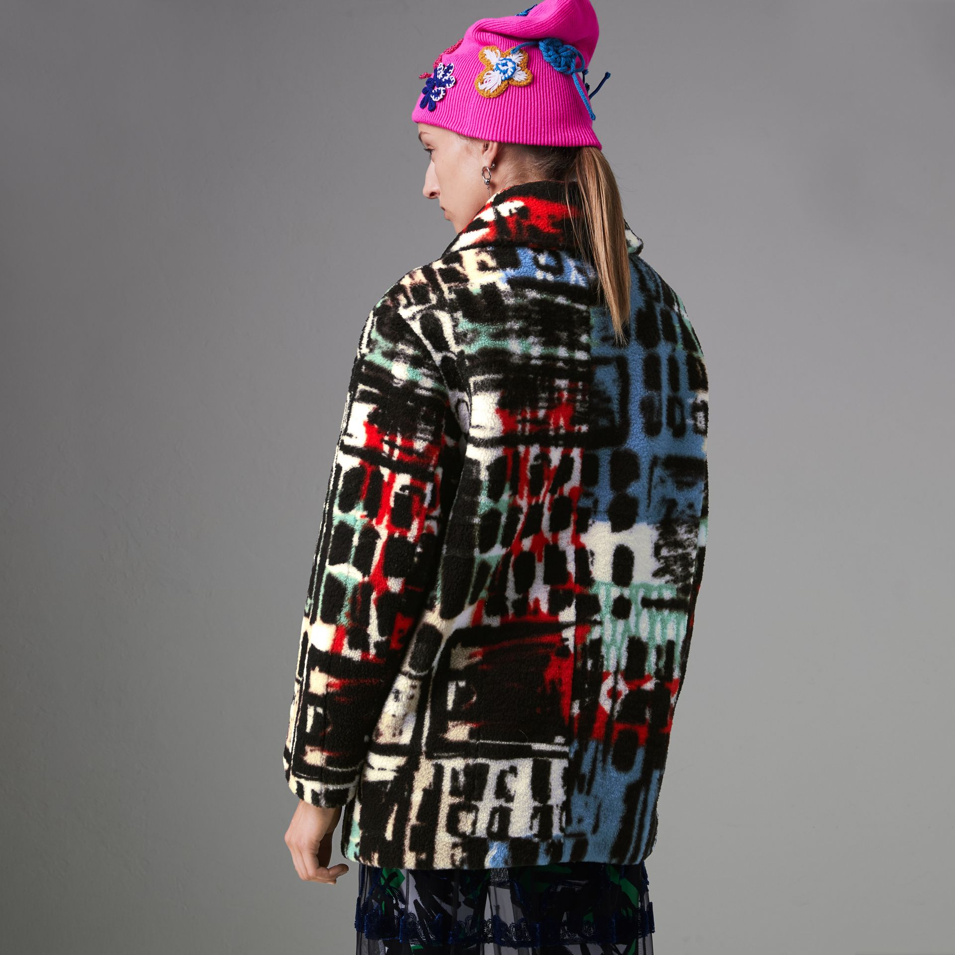 Graffiti Print Shearling Oversized Jacket in Steel Blue - Women | Burberry - gallery image 2