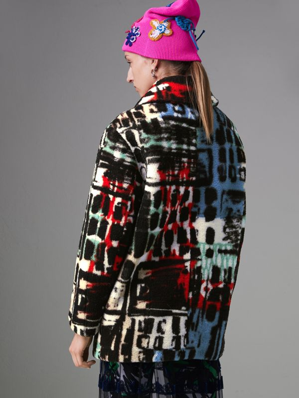 Graffiti Print Shearling Oversized Jacket in Steel Blue - Women | Burberry United States - cell image 2