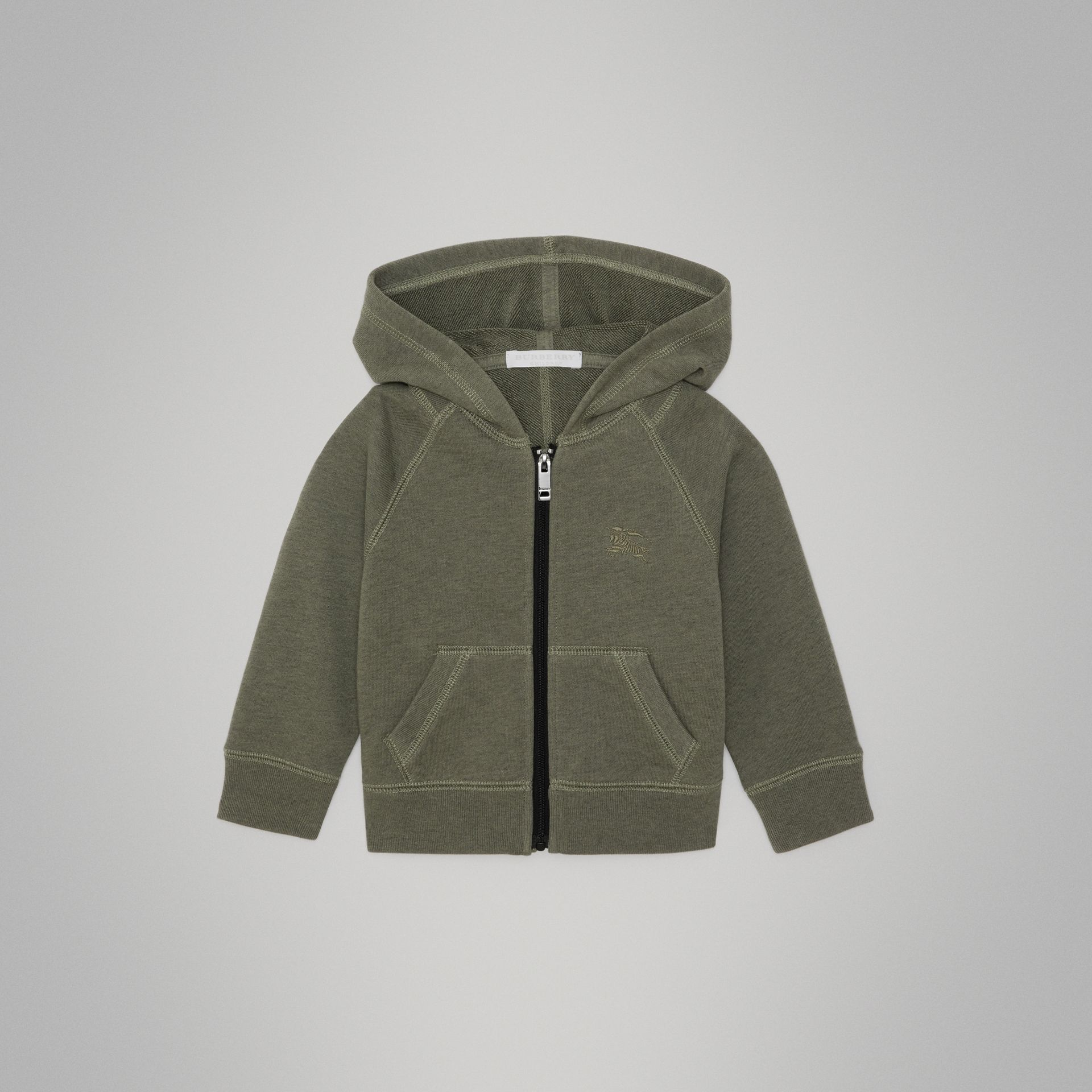 Cotton Jersey Hooded Top in Olive Melange - Children | Burberry - gallery image 0