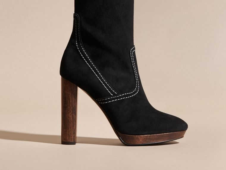 Black Topstitch Detail Knee-high Suede Platform Boots - cell image 1