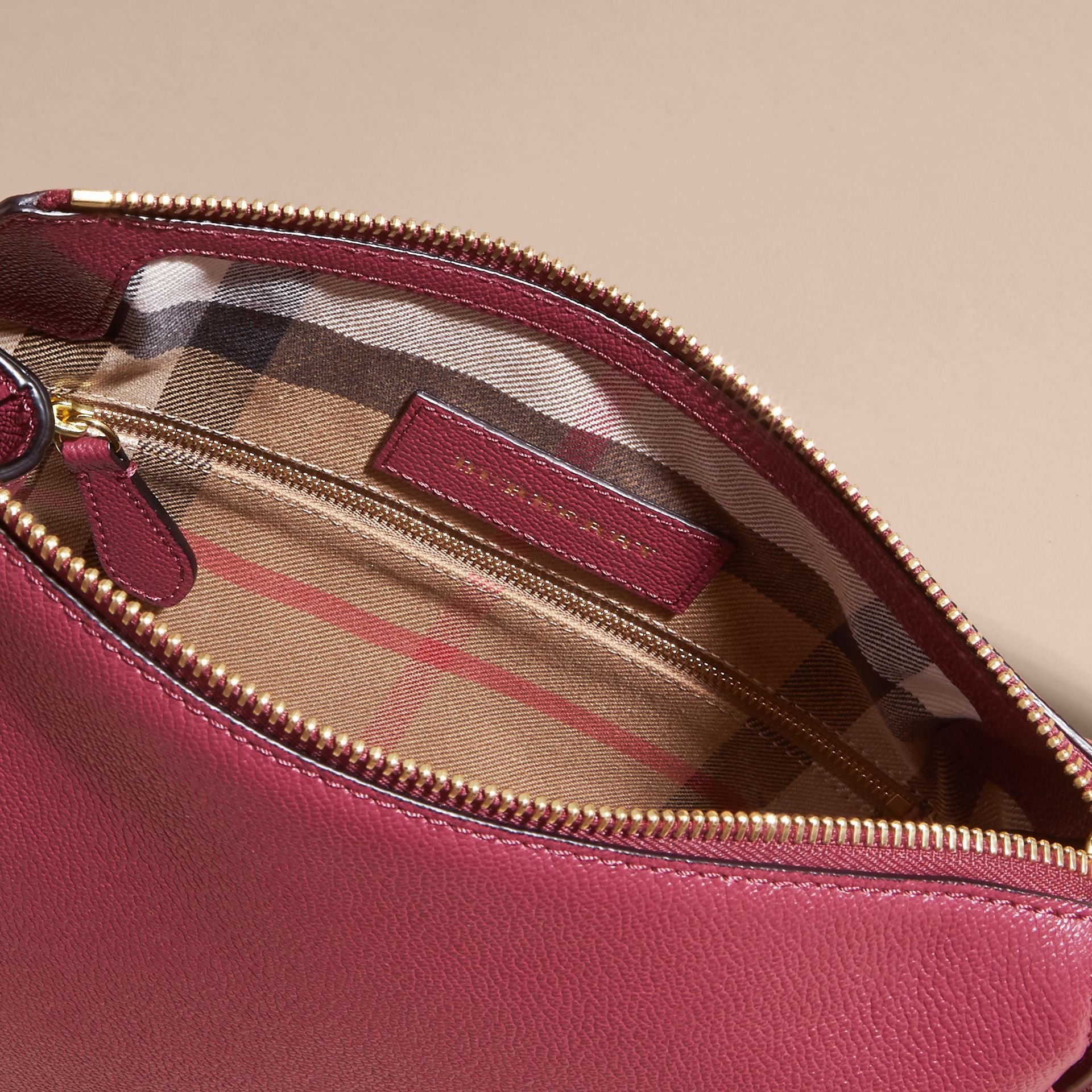 Buckle Detail Leather Crossbody Bag in Dark Plum - gallery image 4