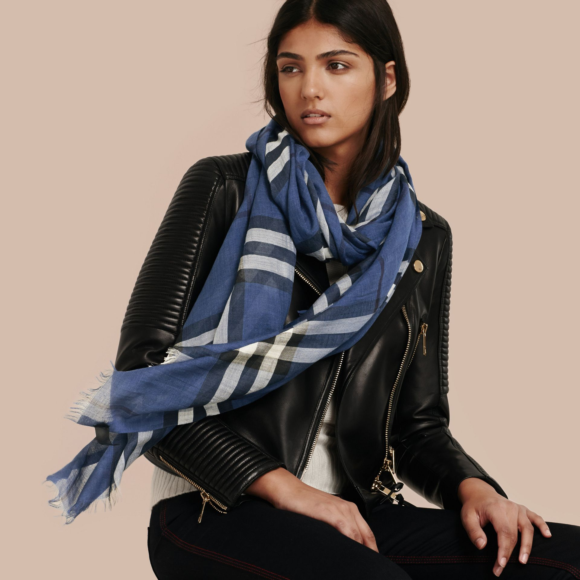 Cadet blue Lightweight Check Wool and Silk Scarf Cadet Blue - gallery image 3