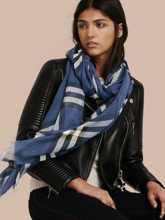 Cadet blue Lightweight Check Wool and Silk Scarf Cadet Blue - cell image 2