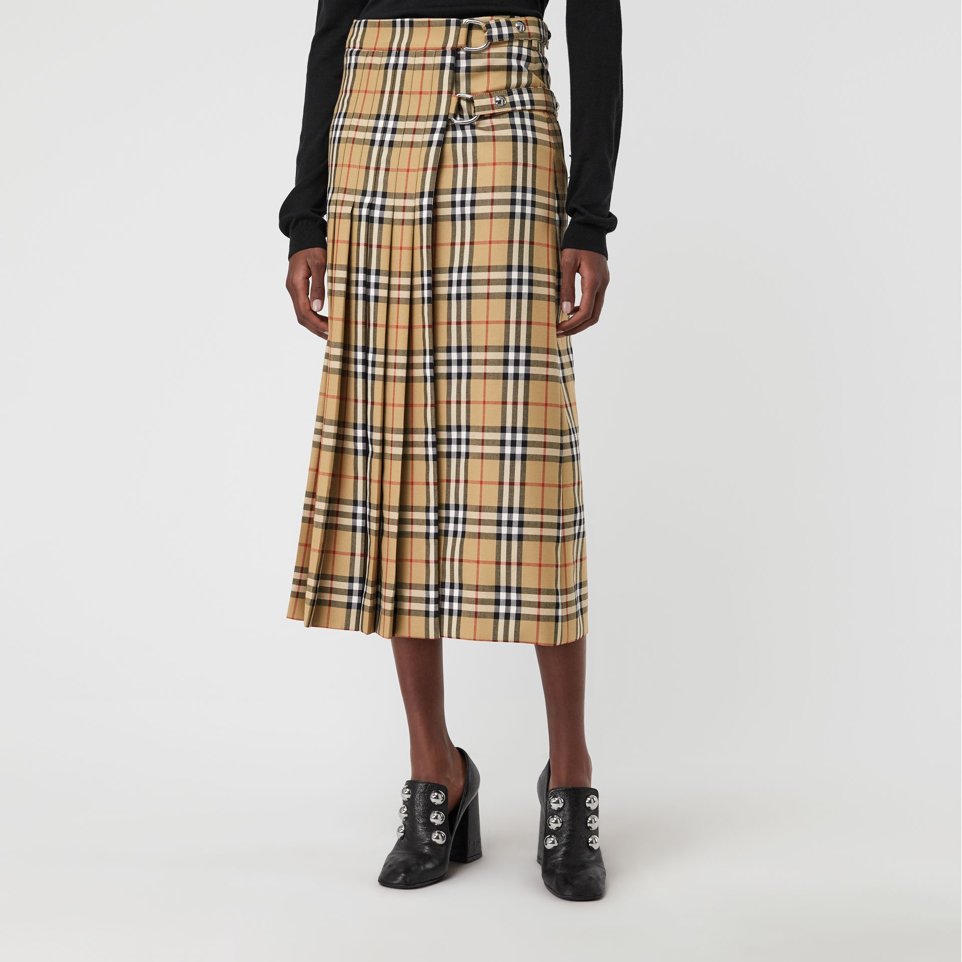 Vintage Check Wool Kilt in Antique Yellow - Women | Burberry Singapore - gallery image 4