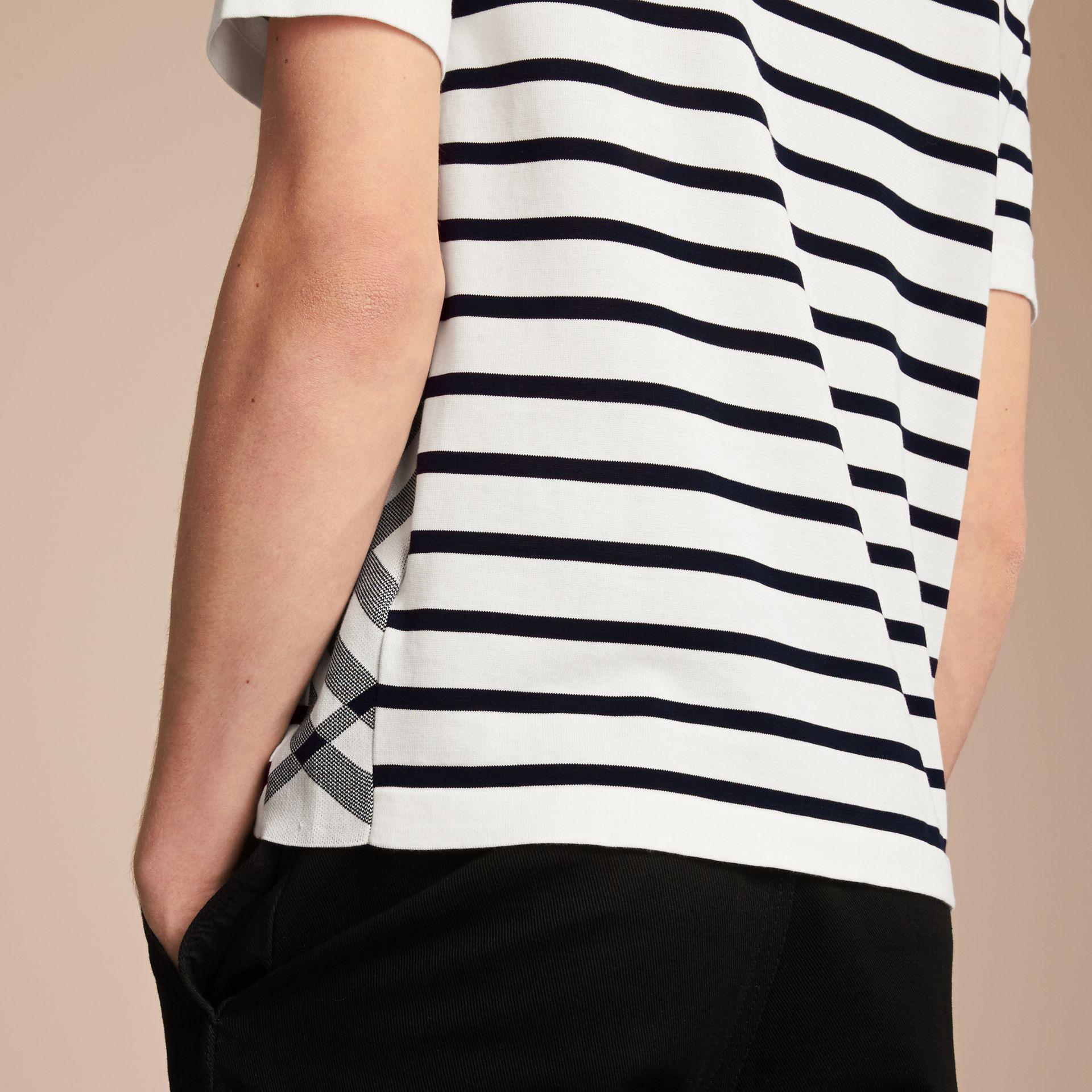 Breton Stripe Cotton Polo Shirt in White - Men | Burberry - gallery image 5