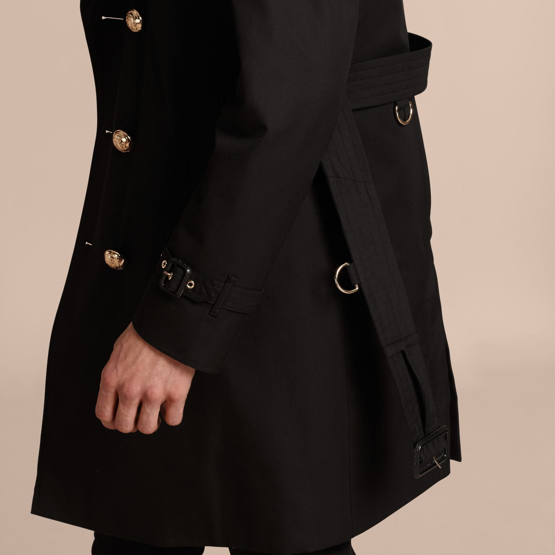 Black Military Trench Coat with Detachable Mink Collar and Warmer - gallery image 5