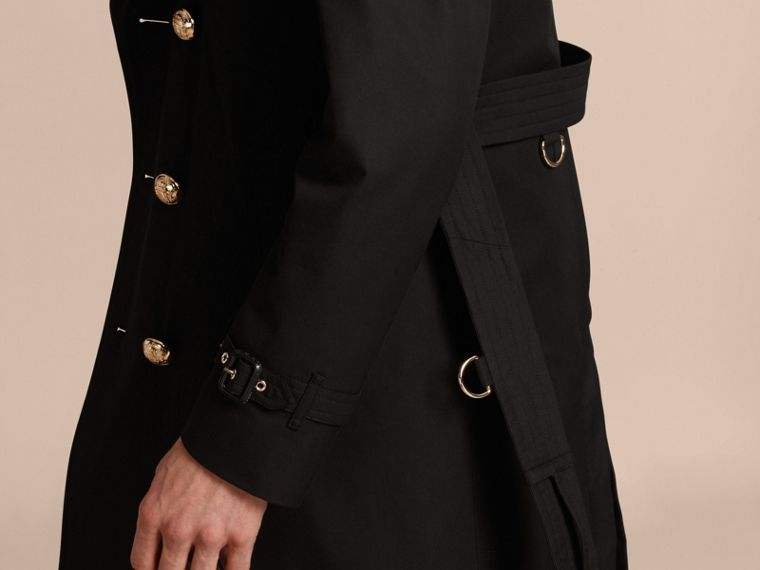 Black Military Trench Coat with Detachable Mink Collar and Warmer - cell image 4