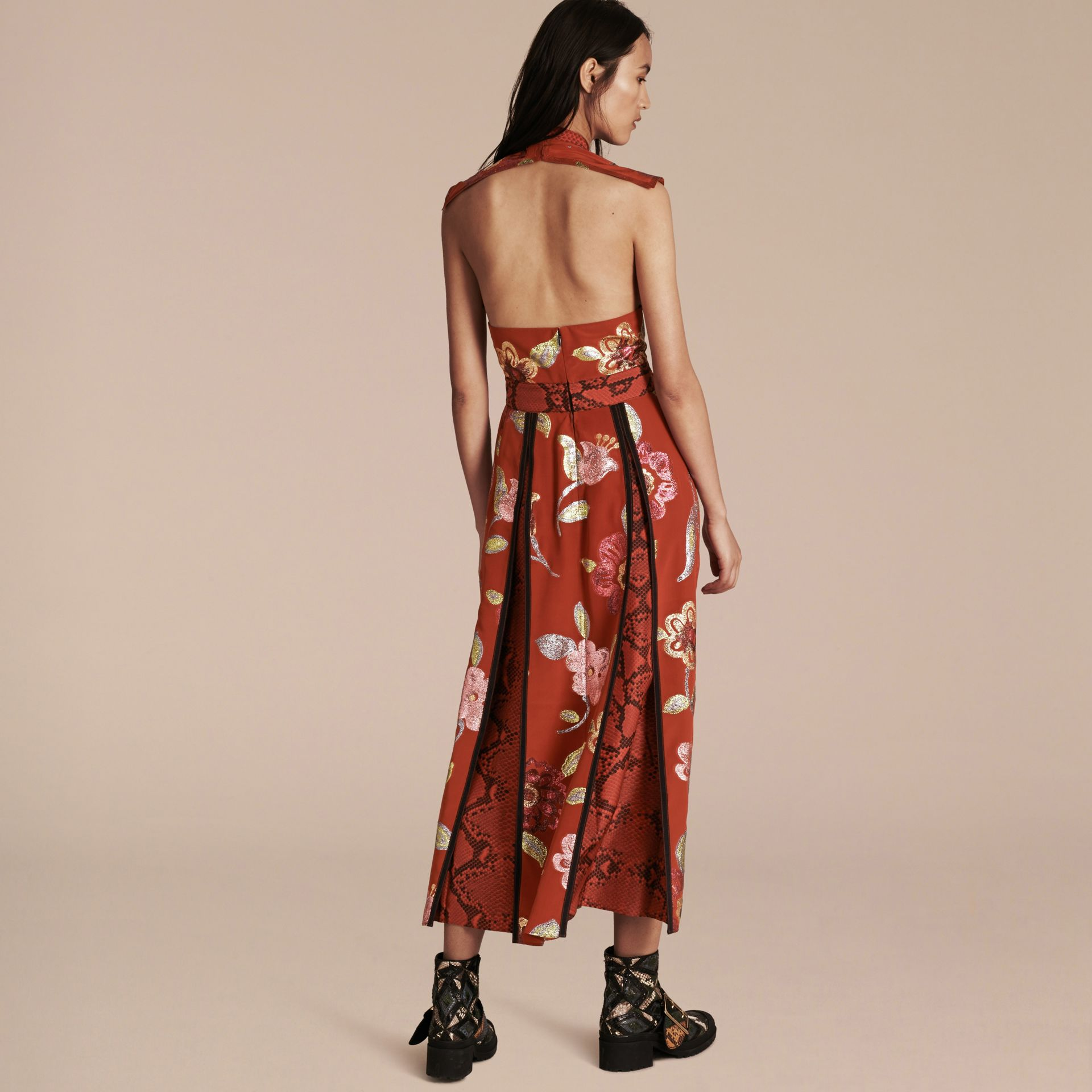 Burnt sienna Floral Fil Coupé Silk Dress - gallery image 3