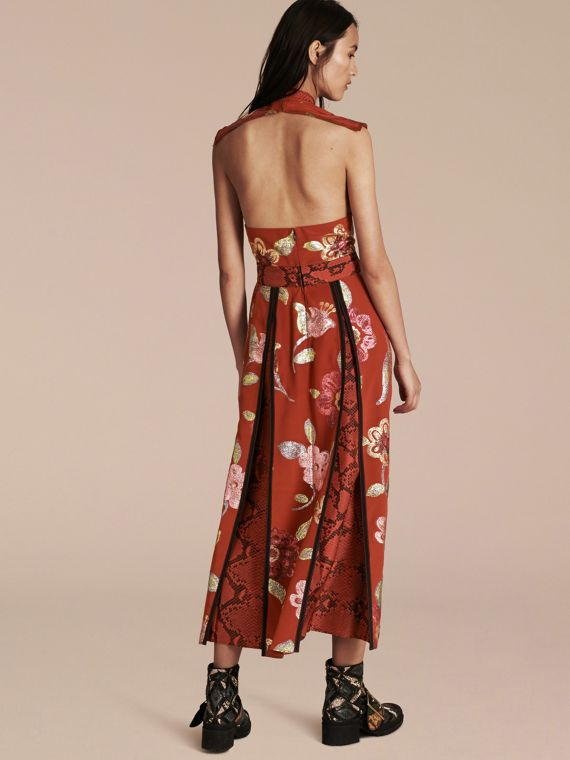Burnt sienna Floral Fil Coupé Silk Dress - cell image 2