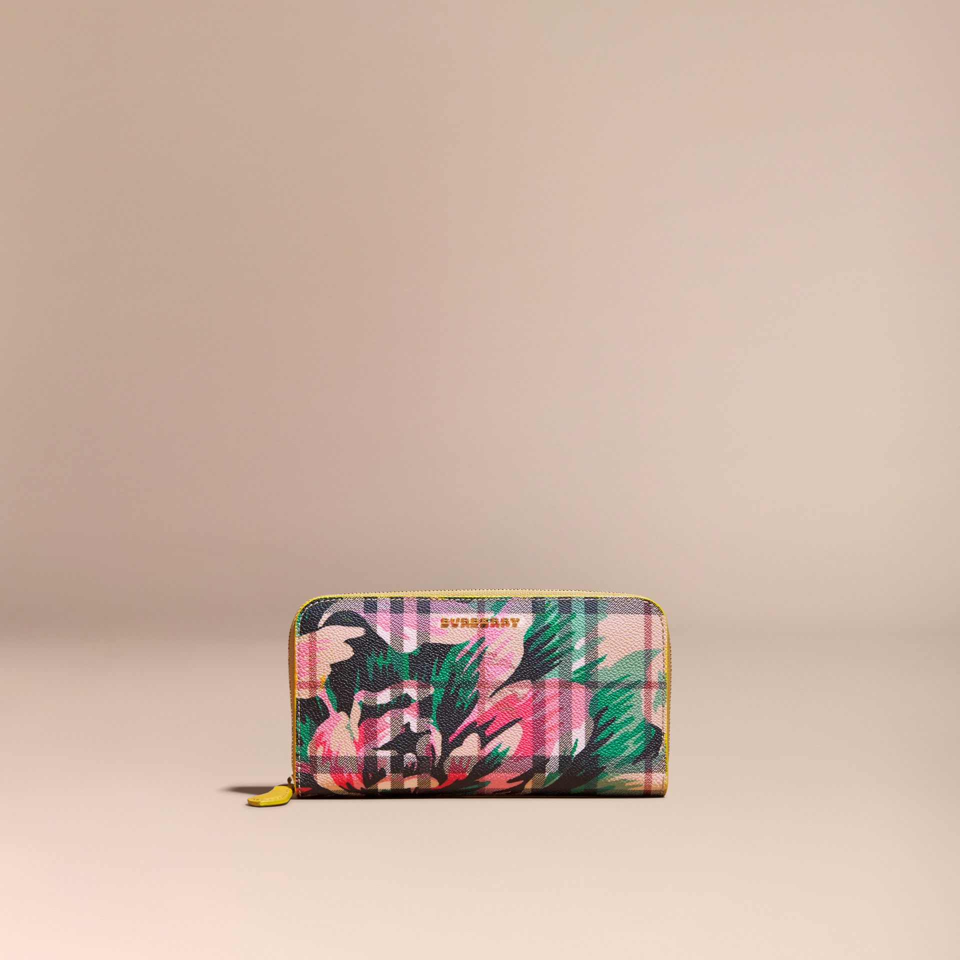 Larch yellow/emerald green Peony Rose Print Haymarket Check and Leather Ziparound Wallet - gallery image 6