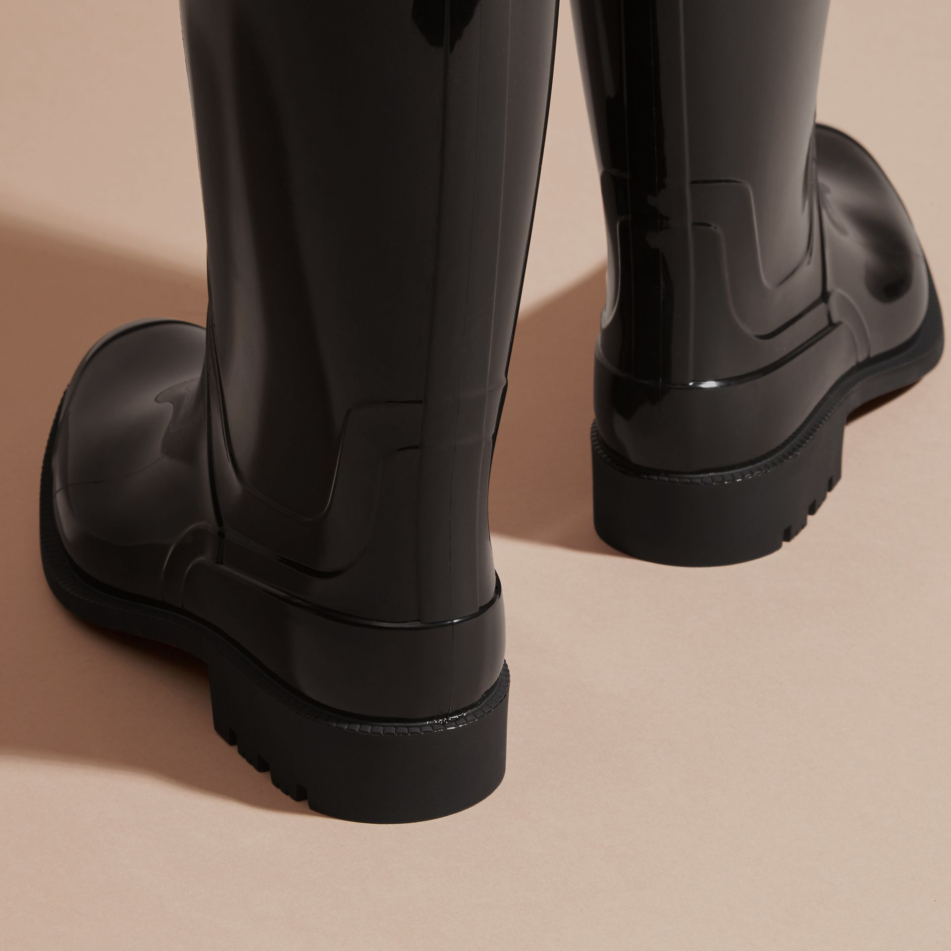 Black/honey Trench Belt Detail Rain Boots - gallery image 4