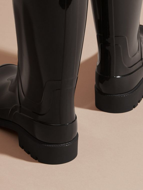 Black/honey Trench Belt Detail Rain Boots - cell image 3