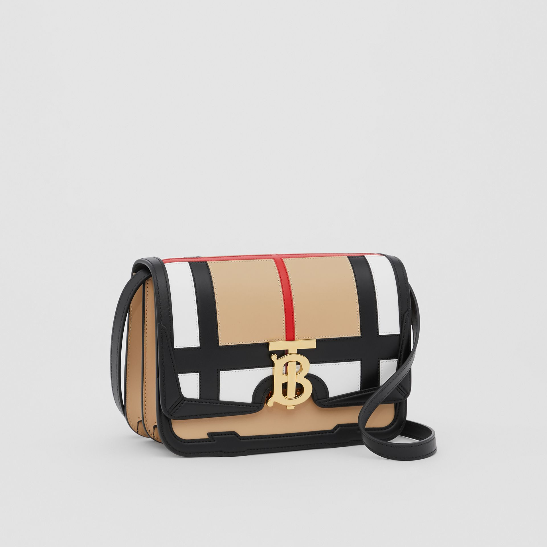 Small Check Appliqué Leather TB Bag in Black - Women | Burberry - gallery image 4