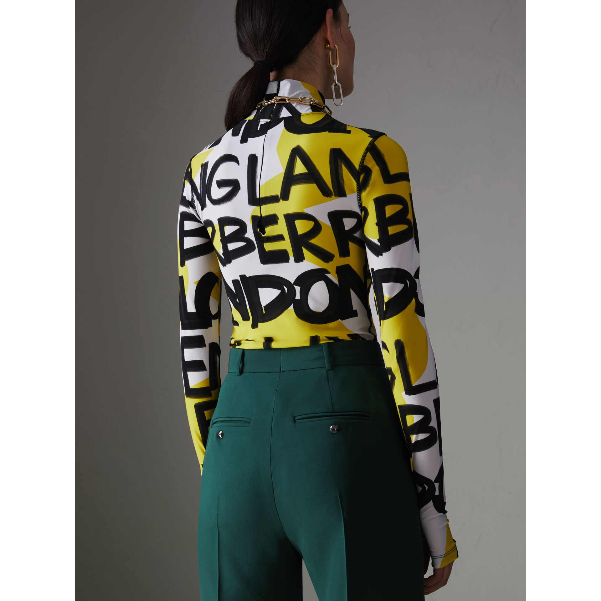 Graffiti Print Stretch Jersey Bodysuit in Bright Yellow - Women | Burberry Singapore - gallery image 2
