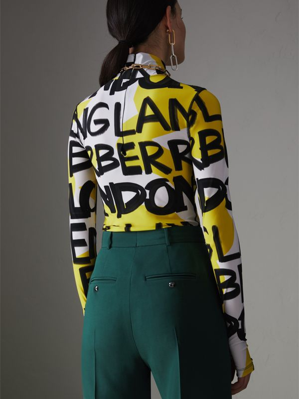 Graffiti Print Stretch Jersey Bodysuit in Bright Yellow - Women | Burberry Singapore - cell image 2