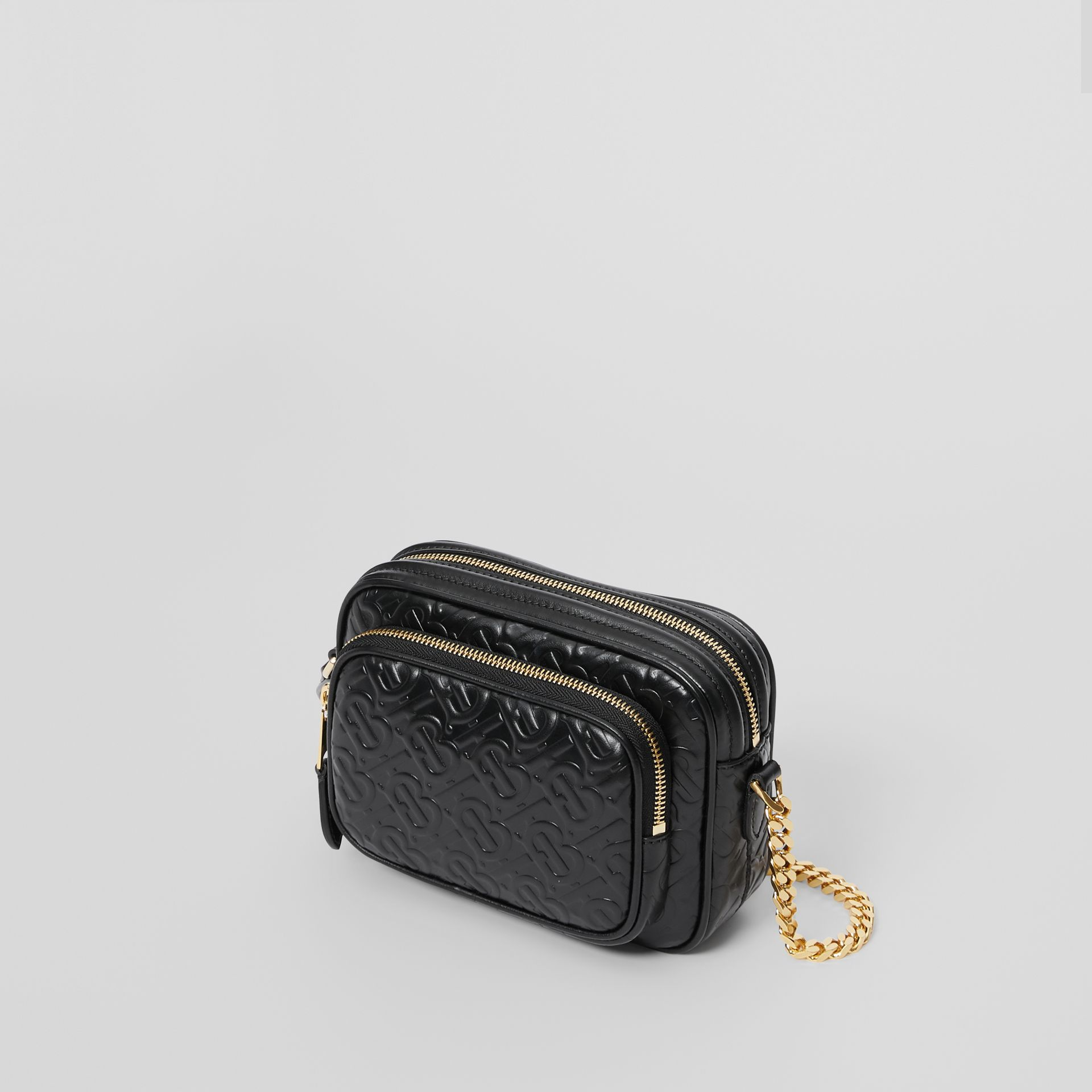 Monogram Leather Camera Bag in Black - Women | Burberry United Kingdom - gallery image 2