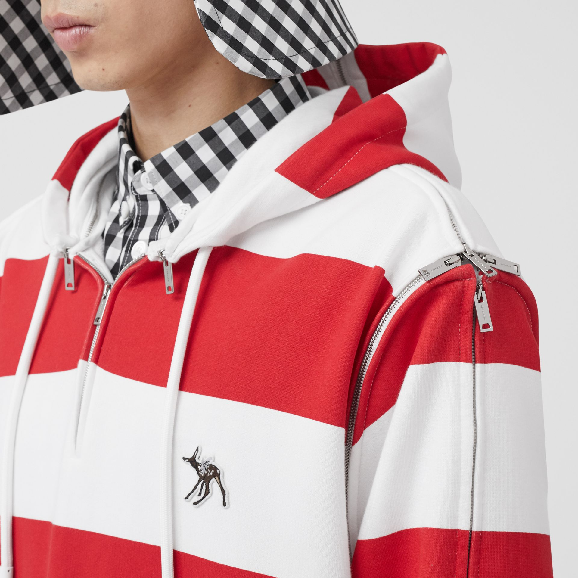 Zip Detail Striped Cotton Hoodie in Red | Burberry - gallery image 1
