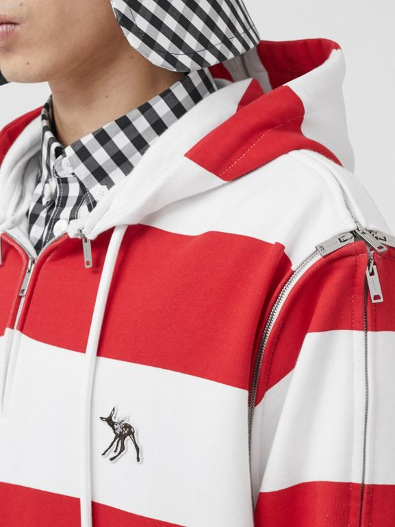 Zip Detail Striped Cotton Hoodie in Red | Burberry - cell image 1