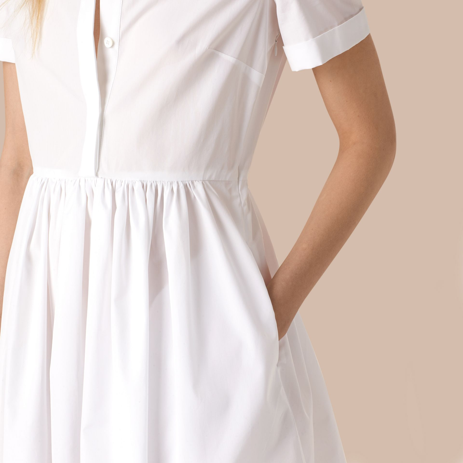 White Lace Detail Cotton Shirt Dress - gallery image 2