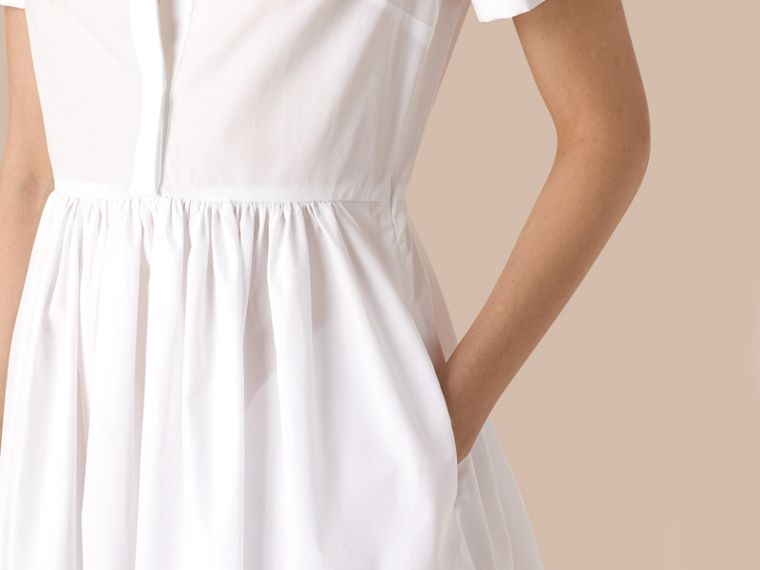 White Lace Detail Cotton Shirt Dress - cell image 1