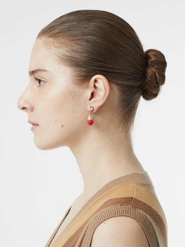 Gold-plated Faux Pearl Charm Earrings in Bright Red/light - Women | Burberry Australia - cell image 2