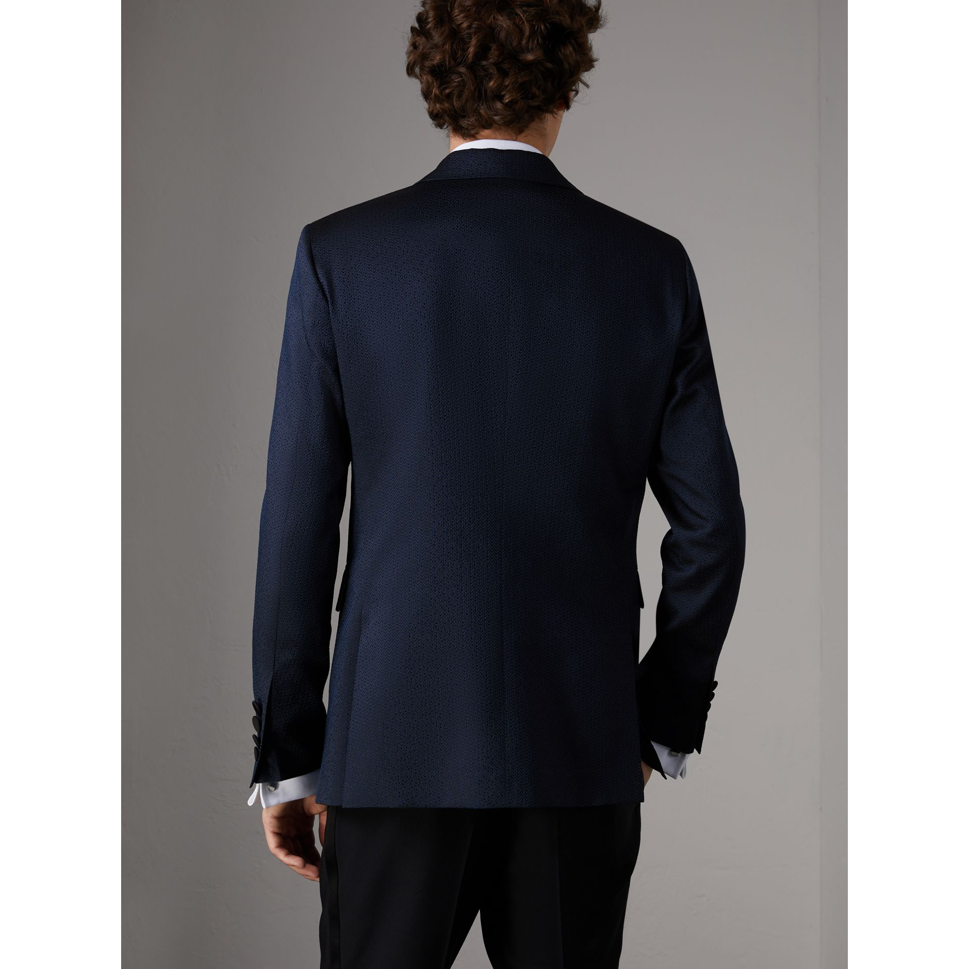 Soho Fit Jacquard Evening Jacket in Navy - Men | Burberry - gallery image 3