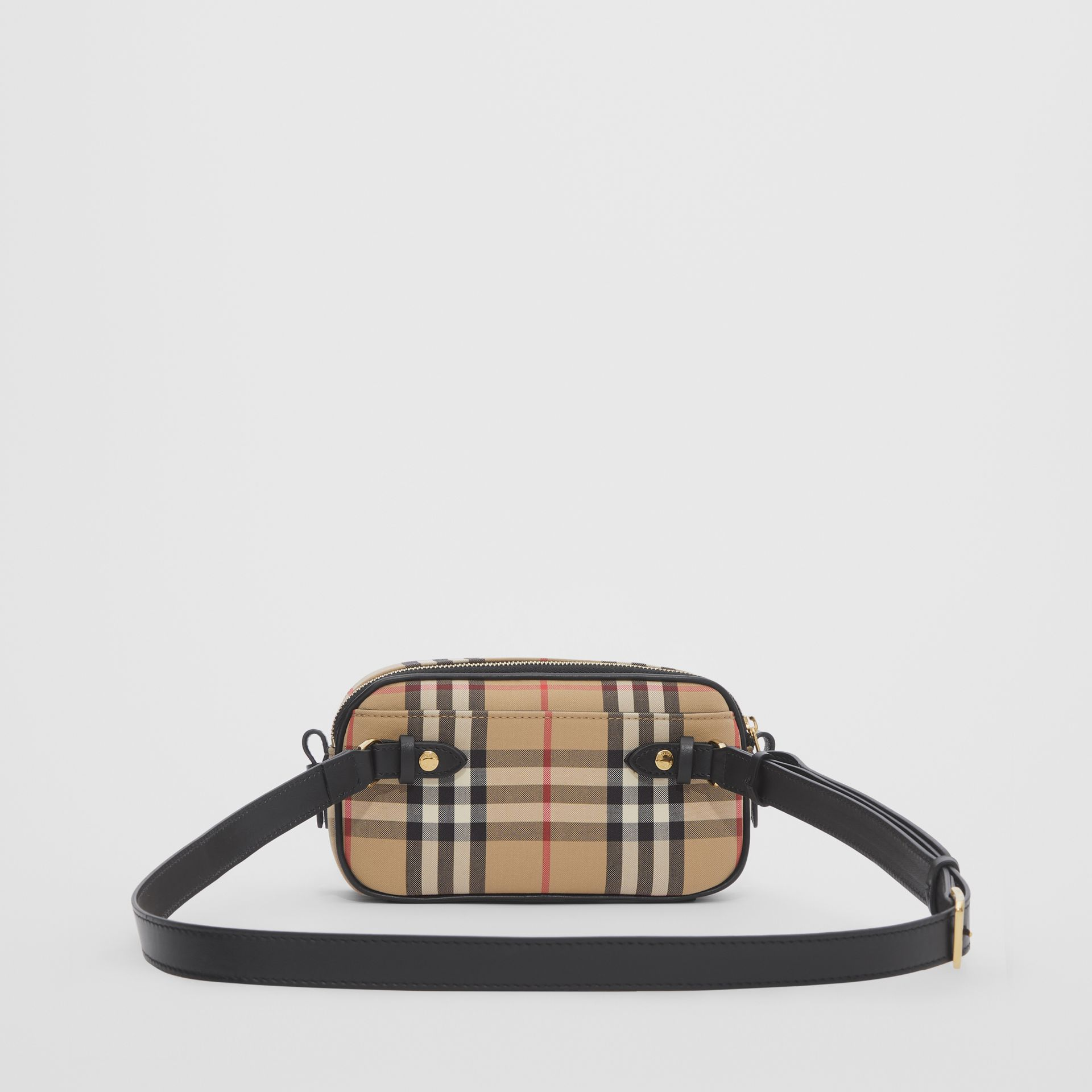 Mini Vintage Check and Leather Camera Bag in Archive Beige | Burberry - gallery image 3